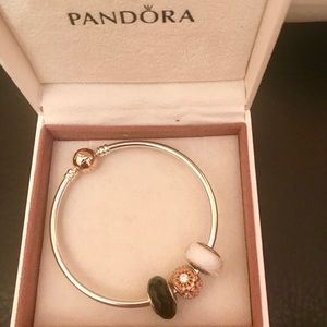 Pandora Silver & Rose Gold Bracelet w Three Charms